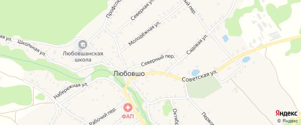 Северный переулок на карте деревни Любовшо с номерами домов