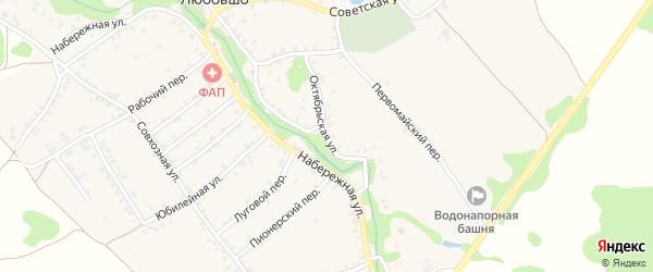 Октябрьская улица на карте деревни Любовшо с номерами домов