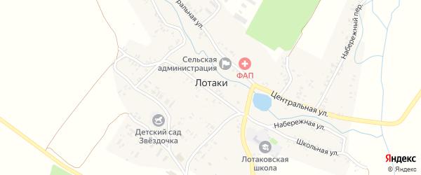 Набережный переулок на карте села Лотаки с номерами домов