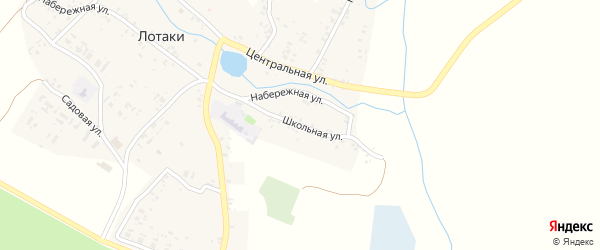 Школьная улица на карте села Лотаки с номерами домов