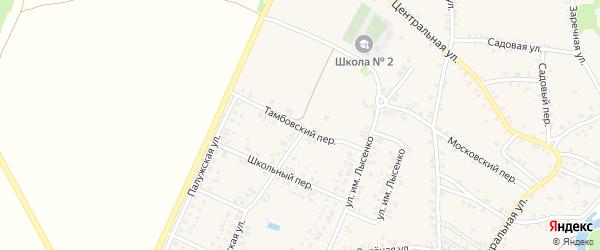Тамбовский переулок на карте поселка Красной Горы с номерами домов