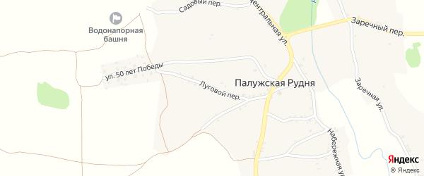 Луговой переулок на карте деревни Палужской Рудни с номерами домов