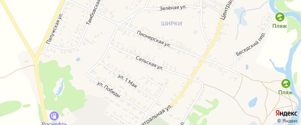 Сельская улица на карте поселка Красной Горы с номерами домов