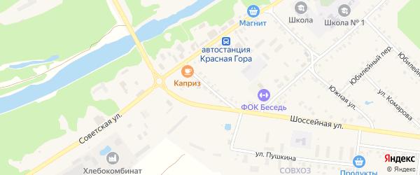 Партизанский переулок на карте поселка Красной Горы с номерами домов
