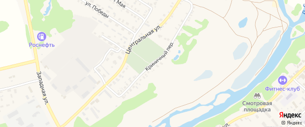 Криничный переулок на карте поселка Красной Горы с номерами домов
