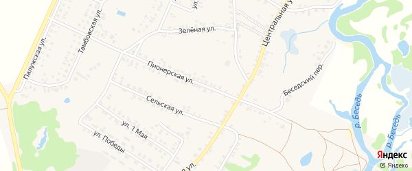 Пионерская улица на карте поселка Красной Горы с номерами домов