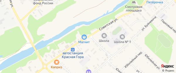 Советская улица на карте поселка Красной Горы с номерами домов