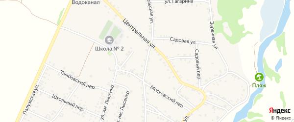 Комсомольская улица на карте поселка Красной Горы с номерами домов