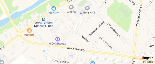 Южная улица на карте поселка Красной Горы с номерами домов