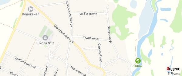 Садовая улица на карте поселка Красной Горы с номерами домов