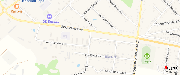 Улица Пушкина на карте поселка Красной Горы с номерами домов