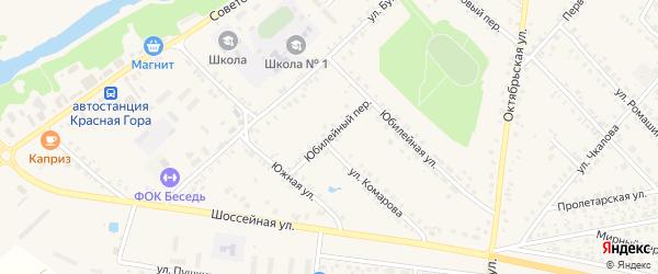 Юбилейный переулок на карте поселка Красной Горы с номерами домов