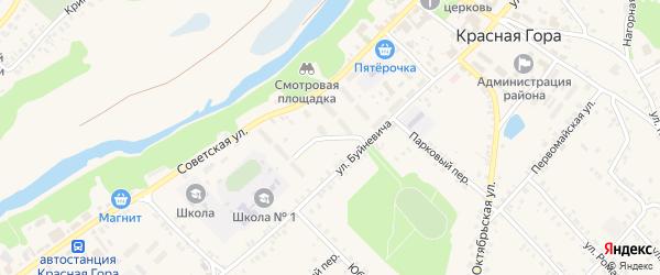 Майский переулок на карте поселка Красной Горы с номерами домов