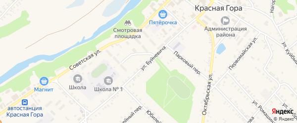 Улица Буйневича на карте поселка Красной Горы с номерами домов