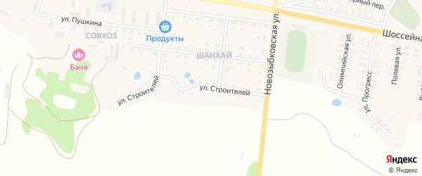 Улица Строителей на карте поселка Красной Горы с номерами домов