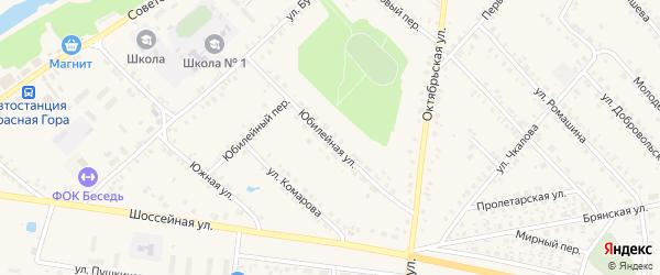 Юбилейная улица на карте поселка Красной Горы с номерами домов