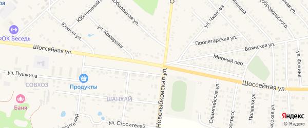 Шоссейная улица на карте поселка Красной Горы с номерами домов