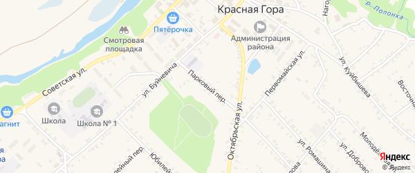 Парковый переулок на карте поселка Красной Горы с номерами домов