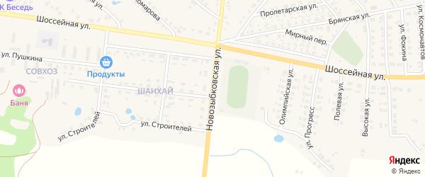 Новозыбковская улица на карте поселка Красной Горы с номерами домов