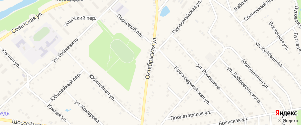 Октябрьская улица на карте поселка Красной Горы с номерами домов