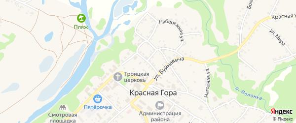 Горный переулок на карте поселка Красной Горы с номерами домов