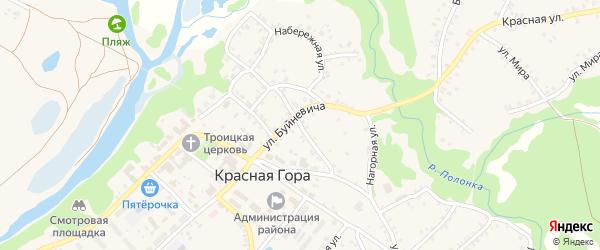 Нагорная улица на карте поселка Красной Горы с номерами домов