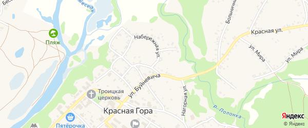 Набережная улица на карте поселка Красной Горы с номерами домов