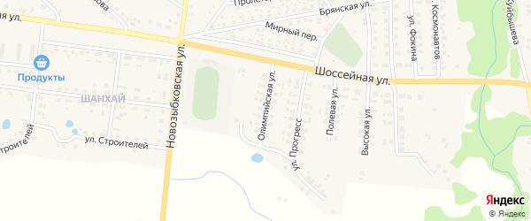 Олимпийская улица на карте поселка Красной Горы с номерами домов