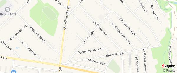 Улица Чкалова на карте поселка Красной Горы с номерами домов