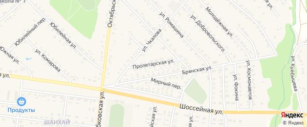 Пролетарская улица на карте поселка Красной Горы с номерами домов