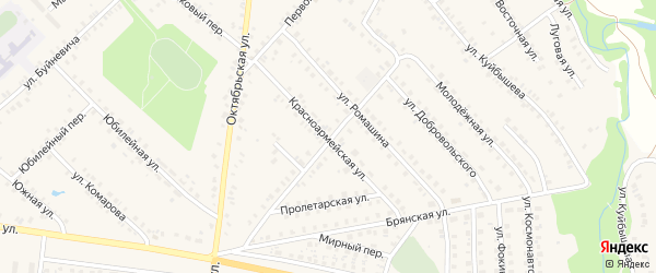 Красноармейская улица на карте поселка Красной Горы с номерами домов