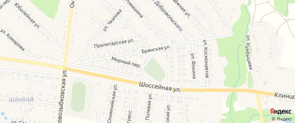 Встречный переулок на карте поселка Красной Горы с номерами домов