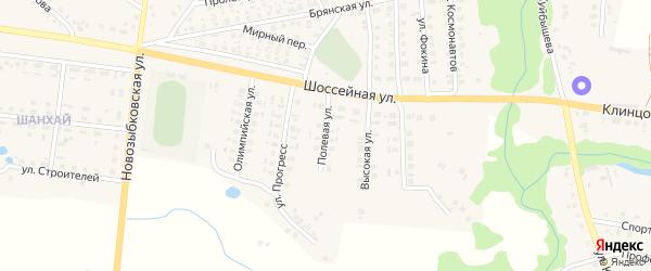 Полевая улица на карте поселка Красной Горы с номерами домов
