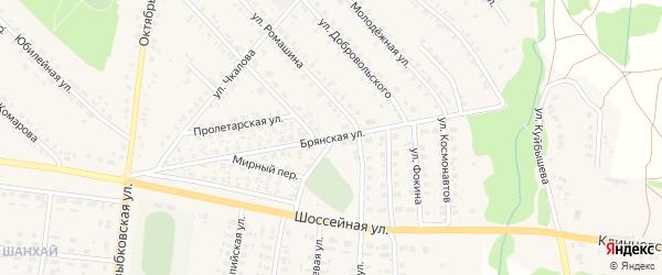 Брянская улица на карте поселка Красной Горы с номерами домов