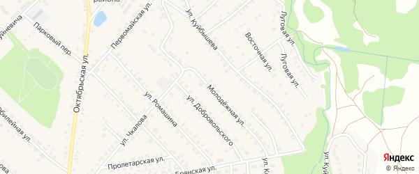 Молодежная улица на карте поселка Красной Горы с номерами домов