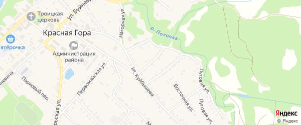 Рабочий переулок на карте поселка Красной Горы с номерами домов
