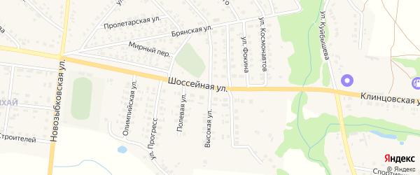 Высокая улица на карте поселка Красной Горы с номерами домов