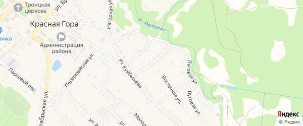 Солнечный переулок на карте поселка Красной Горы с номерами домов