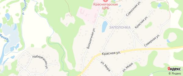 Больничная улица на карте поселка Красной Горы с номерами домов