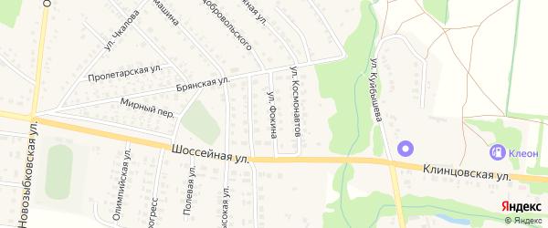 Улица Фокина на карте поселка Красной Горы с номерами домов
