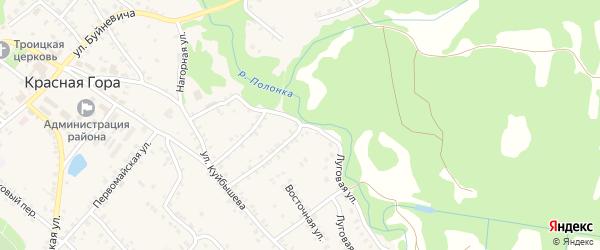 Луговая улица на карте поселка Красной Горы с номерами домов