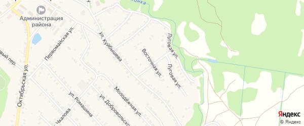 Восточная улица на карте поселка Красной Горы с номерами домов