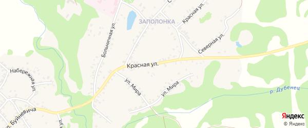 Красная улица на карте поселка Красной Горы с номерами домов