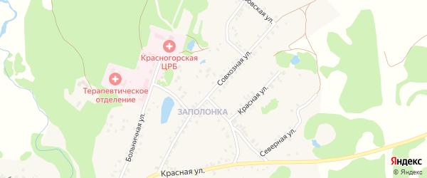 Совхозная улица на карте поселка Красной Горы с номерами домов