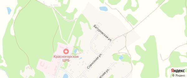 Совхозный переулок на карте поселка Красной Горы с номерами домов