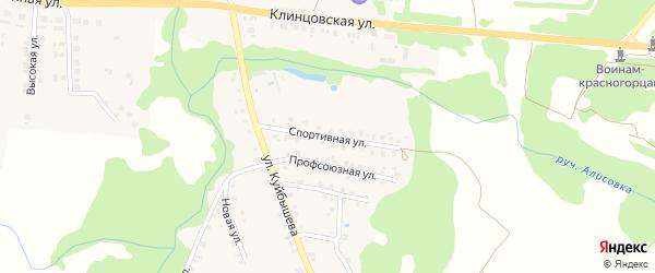 Спортивная улица на карте поселка Красной Горы с номерами домов