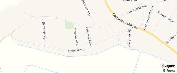 Средний переулок на карте села Яловки с номерами домов