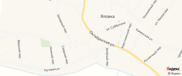 Улица Субботина на карте села Яловки с номерами домов