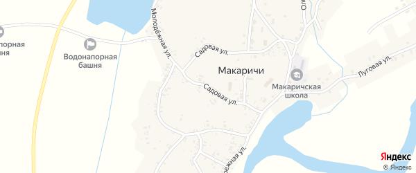Садовая улица на карте деревни Макаричей с номерами домов
