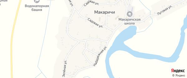 Зеленая улица на карте деревни Макаричей с номерами домов